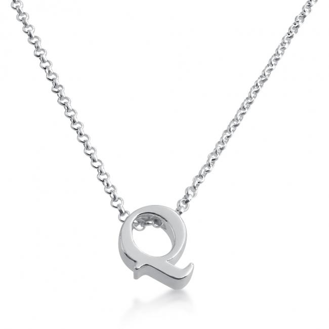 925 sterling silver necklace Initial Letter Q Personalized Symbols & Letters Serif Font