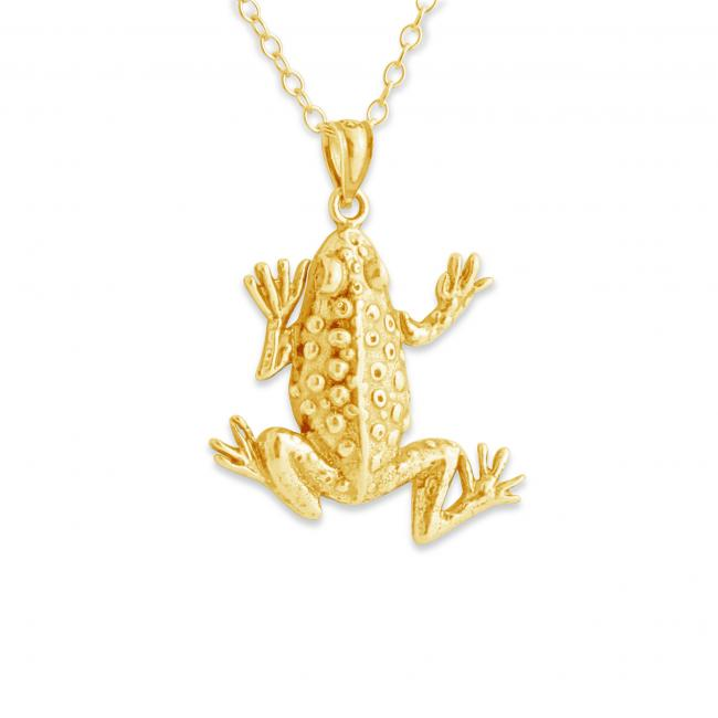 Gold plated necklace Frog