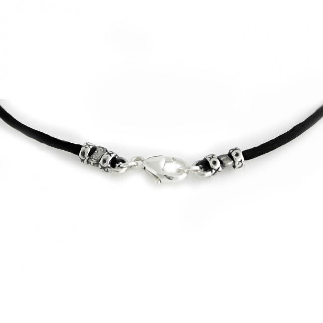 925 sterling silver leather Black Leather Cord Necklace