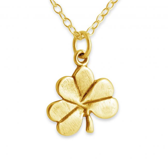 Gold plated necklace Shamrock Clover Irish Lucky