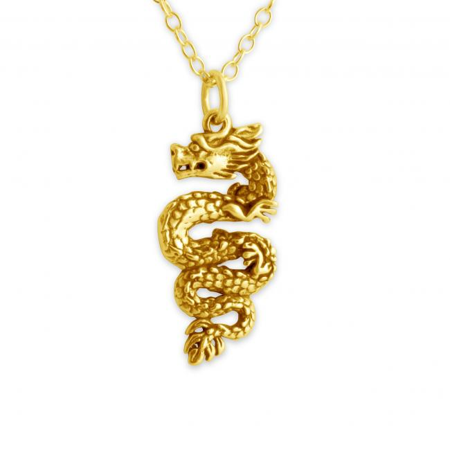 Gold plated necklace Chinese Dragon 2-Sided
