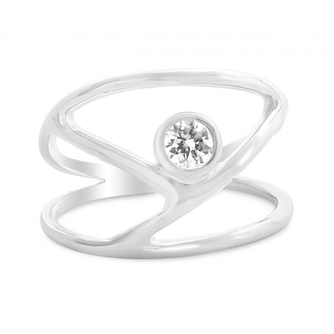 925 sterling silver ring Y-Shaped with CZ Double Band Ring