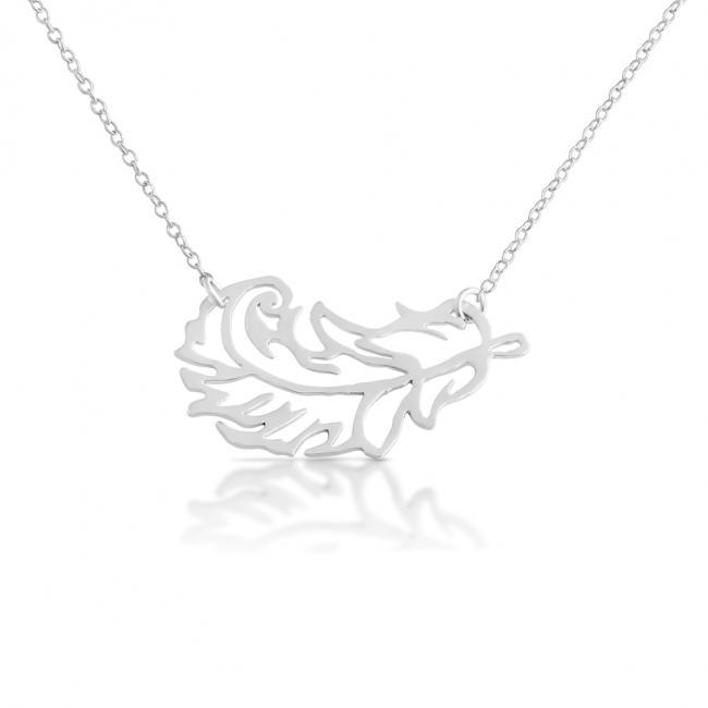 925 sterling silver necklace Stylized Feather Sideways
