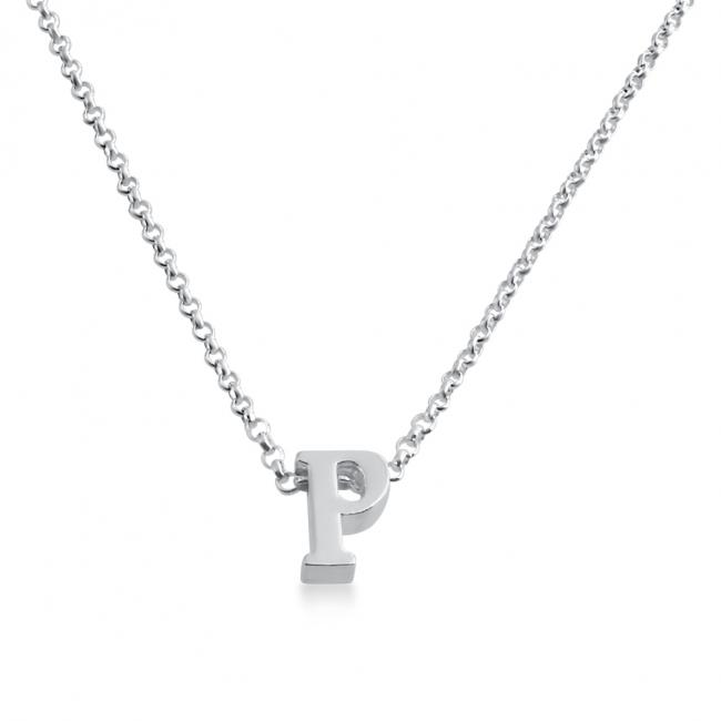 925 sterling silver necklace Initial Letter P Personalized Symbols & Letters Serif Font