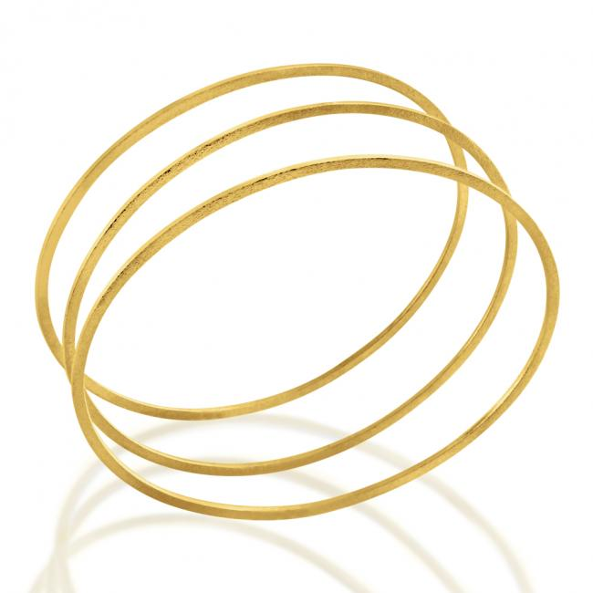 Gold plated bracelet Thin Oval Bangles 1.8mm Set of 3 - Large