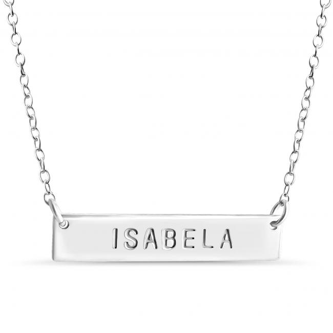 925 sterling silver necklace Name Bar Isabela