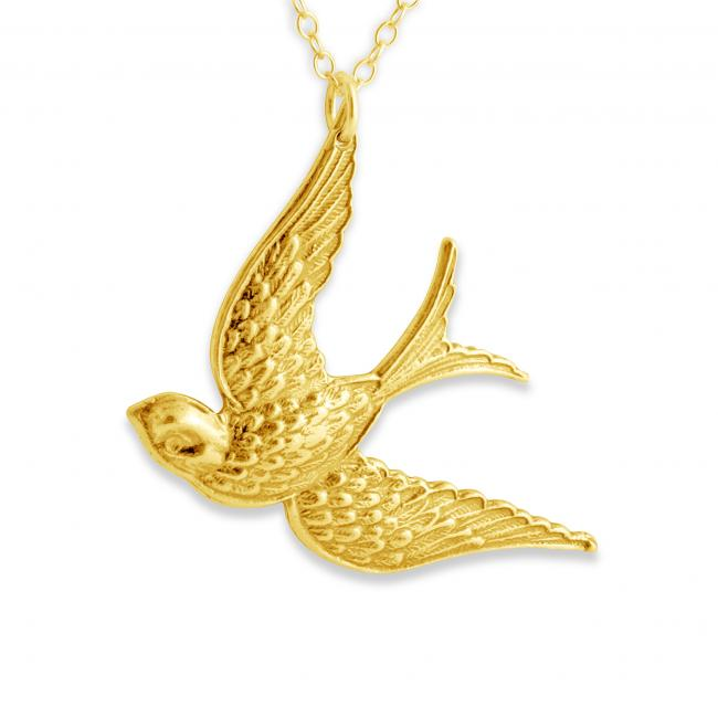 Gold plated necklace Flying Swallow Bird