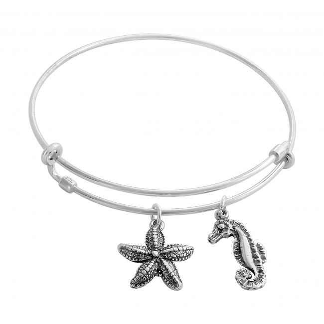925 sterling silver bracelet Underwater World Adjustable Wire Bangle