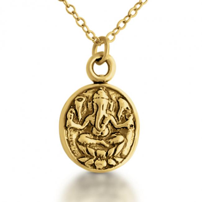 Gold plated necklace Ganesha Hindu Elephant God Religious Spiritual