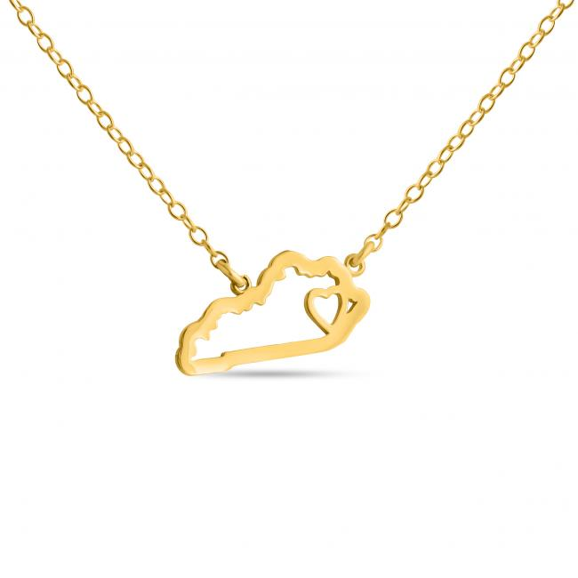 Gold plated necklace Kentucky Home is Where The Heart Is State Necklace