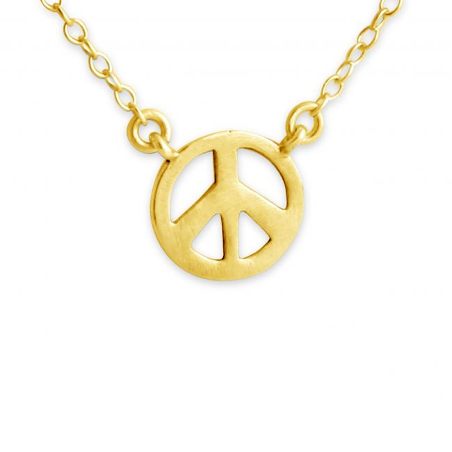 Gold plated necklace Peace Symbol Jump Ring Necklace