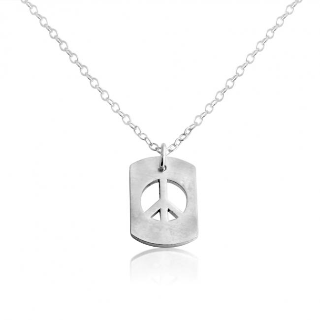 925 sterling silver necklace Peace Sign Dog Tag