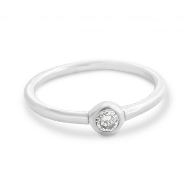 925 sterling silver ring Matte Stackable w/ CZ Ring