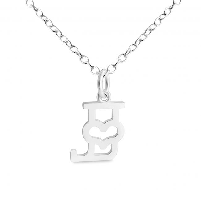 925 sterling silver necklace Initial Letter J with Heart