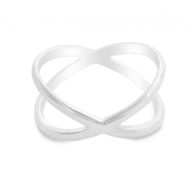 925 sterling silver ring Plain Wide X Criss Cross Infinity Ring