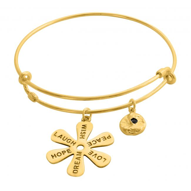 Gold plated bracelet Joyful Life Adjustable Wire Bangle