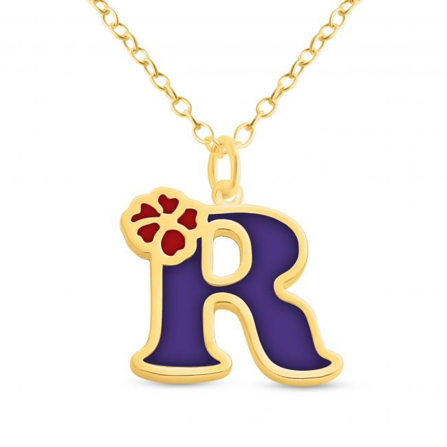 Gold plated necklace Colored Initial Letter R with Flower