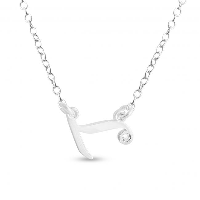 925 sterling silver necklace Initial Script Letter L with CZ Sideways
