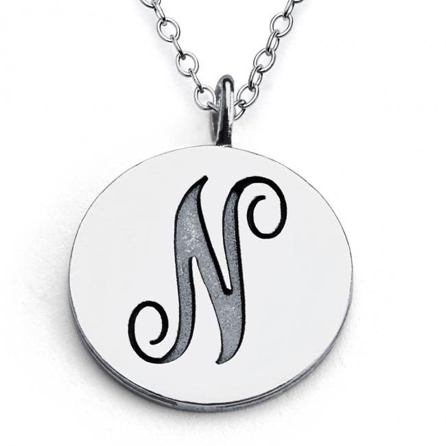 925 sterling silver necklace N Script Letters