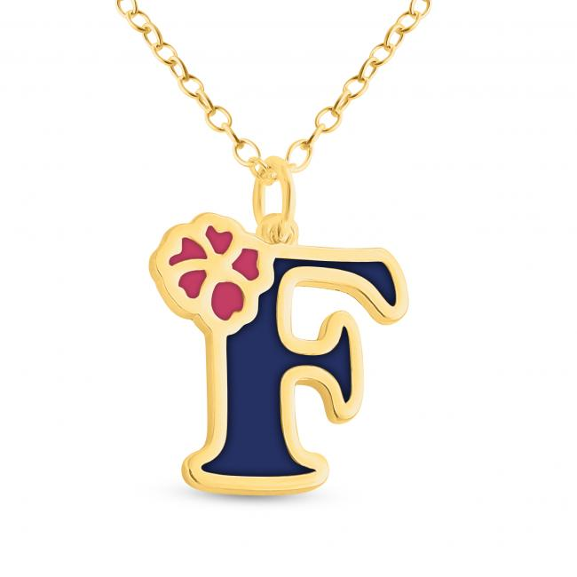 Gold plated necklace Colored Initial Letter F with Flower