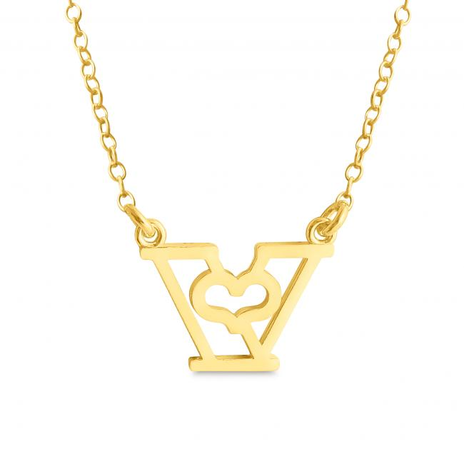 Gold plated necklace Initial Letter V with Heart Sideways