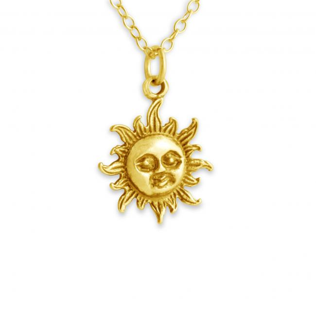 Gold plated necklace Smiling Sun Face Cute