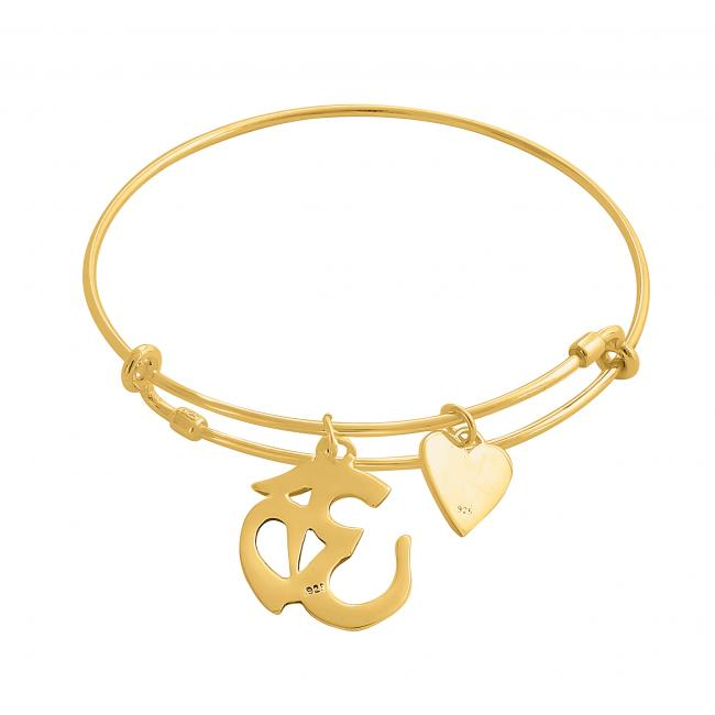 Gold plated bracelet Spiritual Om / Ohm Mantra Adjustable Wire Bangle