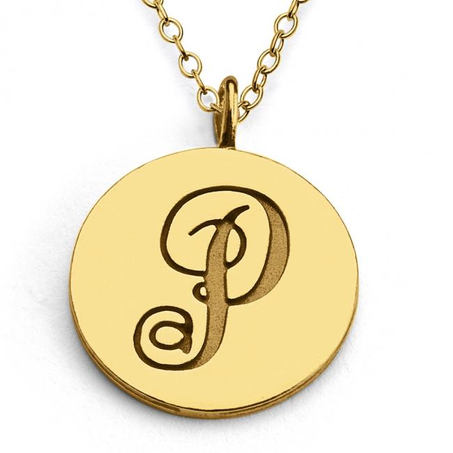 Gold plated necklace P Script Letters