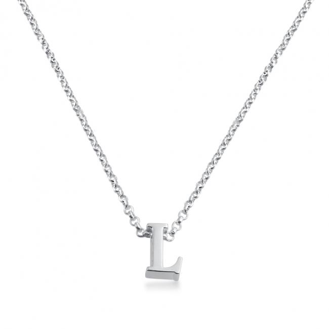 925 sterling silver necklace Initial Letter L Personalized Symbols & Letters Serif Font