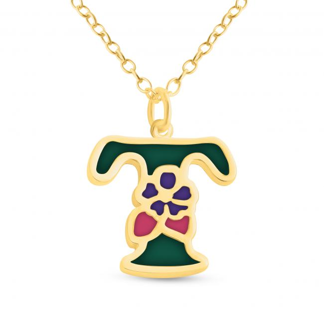 Gold plated necklace Colored Initial Letter T with Flower