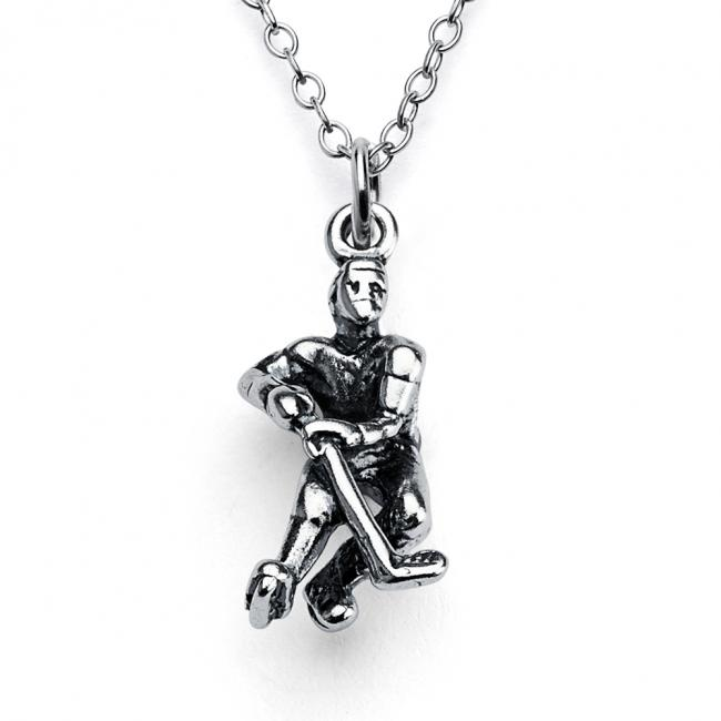 925 sterling silver necklace 3D Hockey Player Winter Team Sports Fan