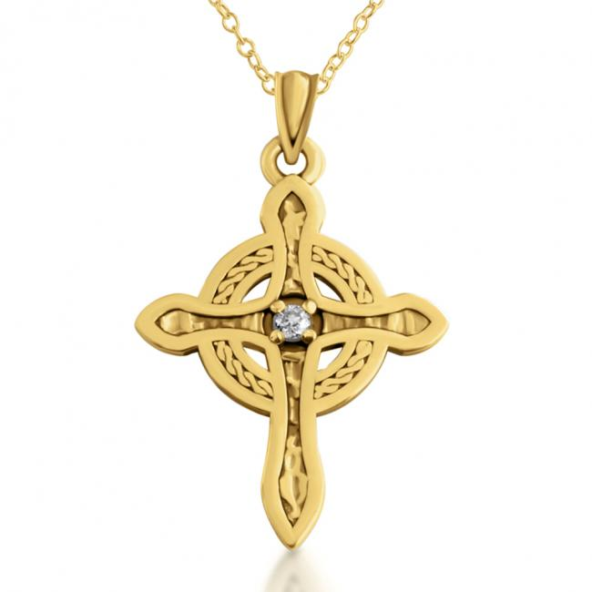 Gold plated necklace Celtic Cross w/ Diamond
