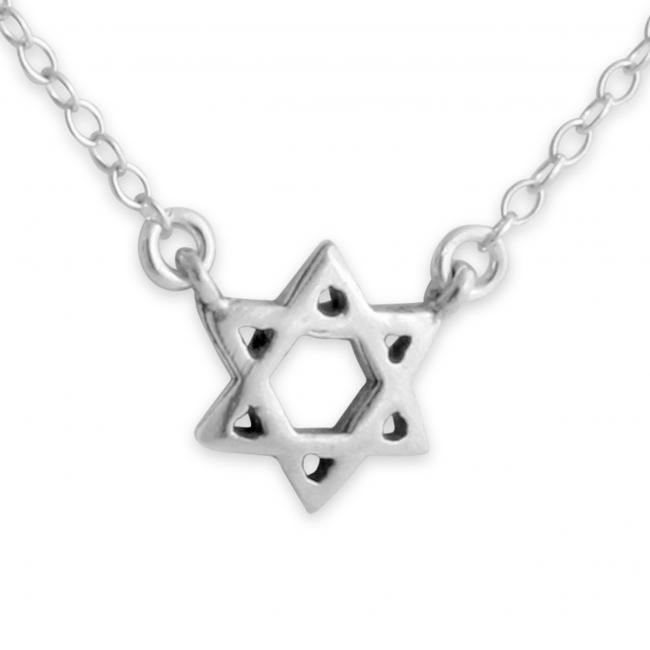 925 sterling silver necklace Star of David Jump Ring Necklace