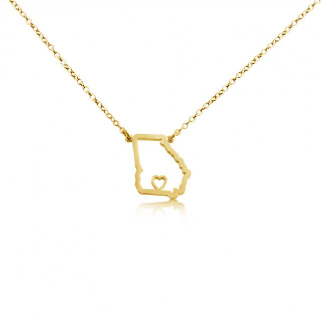 Gold plated necklace Georgia Home is Where The Heart Is State Necklace