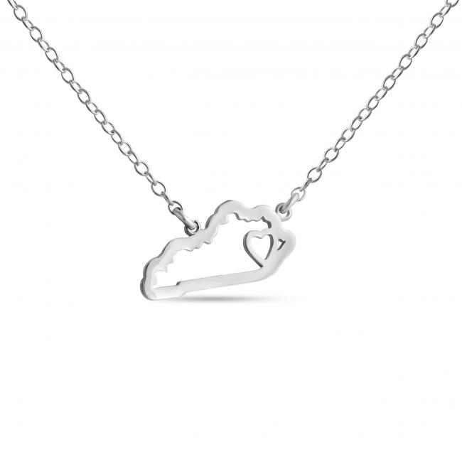 925 sterling silver necklace Kentucky Home is Where The Heart Is State Necklace