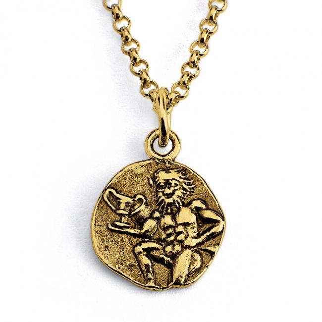 Gold plated necklace Replica Satyr Greek God Ancient COIN