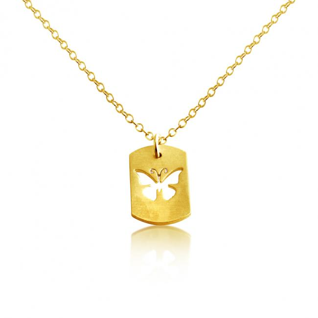 Gold plated necklace Butterfly Dog Tag