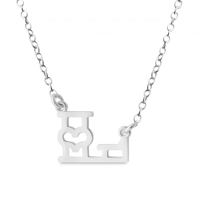 925 sterling silver necklace Initial Letter L with Heart Sideways