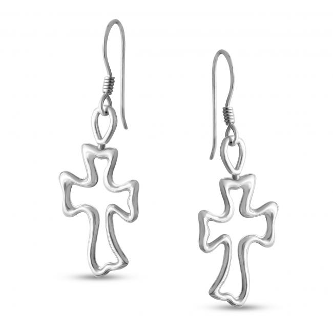 925 sterling silver earrings Outline Cross Hook