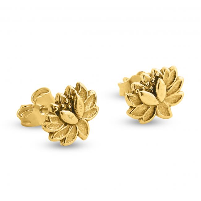 Gold plated earrings Lotus Flower Stud