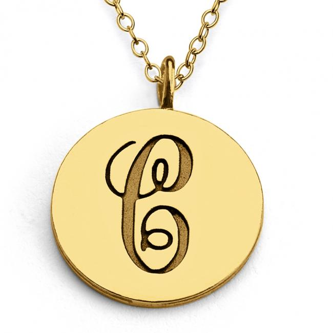 Gold plated necklace C Script Letters