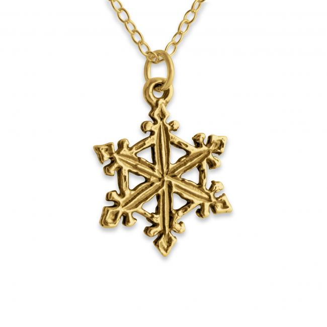 Gold plated necklace Snowflake Winter Double Sided