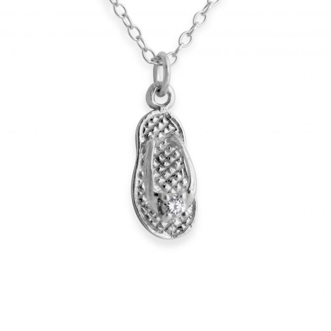 925 sterling silver necklace Tiny Slipper w/ CZ