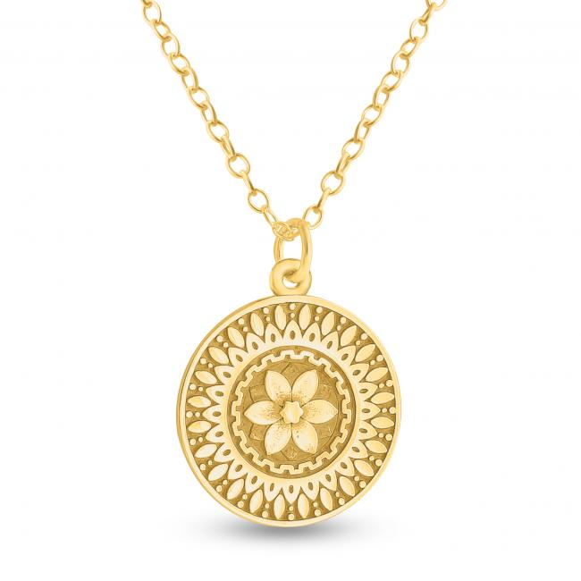 Gold plated necklace Mandala Flower Coin Sacred Path Spiritual Jorney