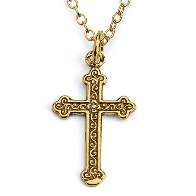 Gold plated necklace Budded Cross Religious Double Sided