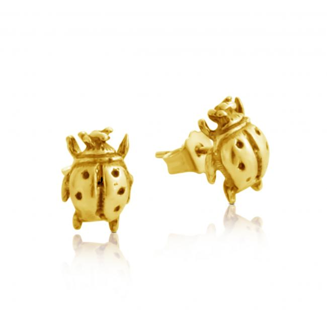 Gold plated earrings Ladybug