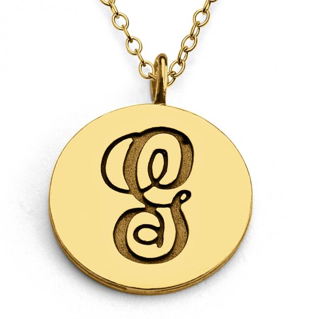 Gold plated necklace G Script Letters