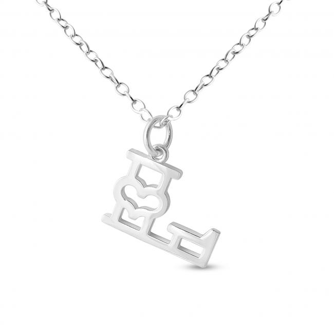 925 sterling silver necklace Initial Letter L with Heart
