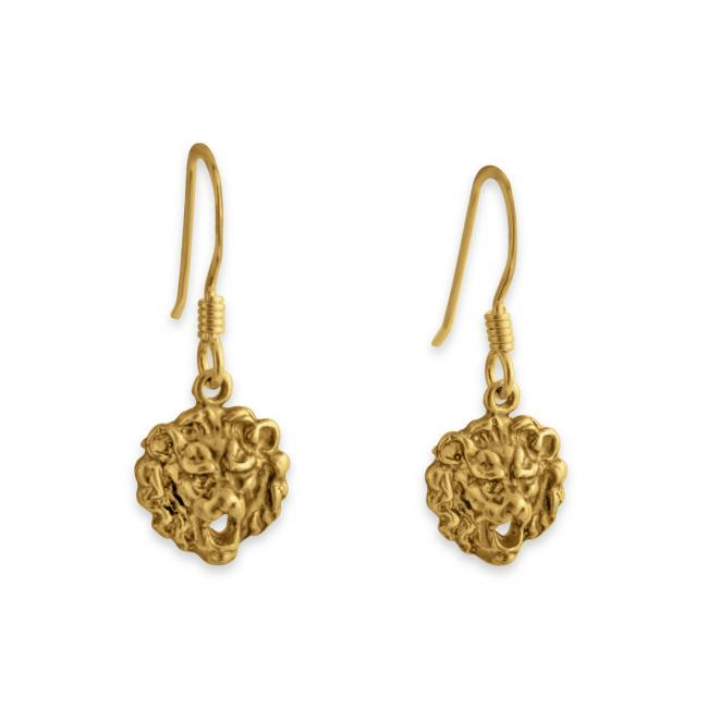 Gold plated earrings Royal Lion Head