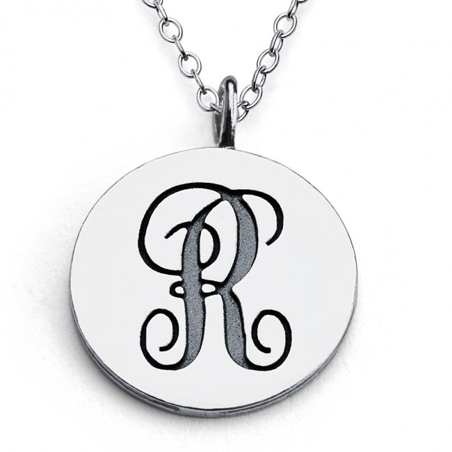 925 sterling silver necklace R Script Letters